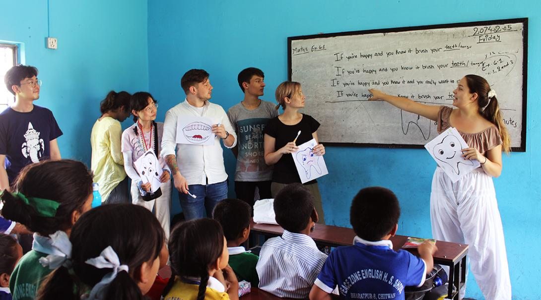 Volunteers at Projects Abroad medical internships in Nepal, present hygiene workshops in schools.